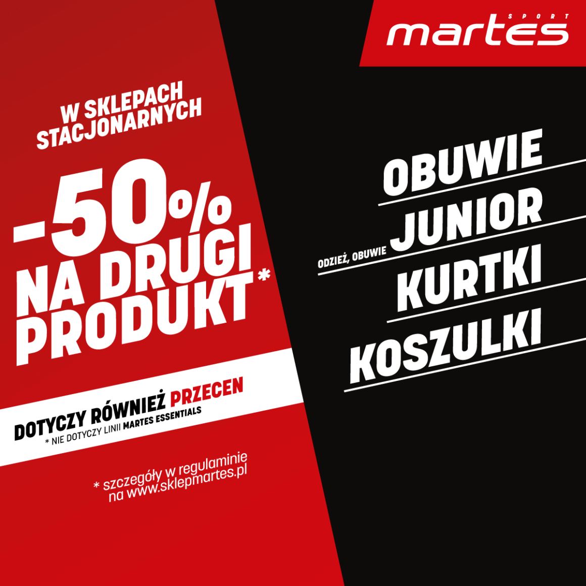 -50% NA DRUGI PRODUKT W SALONACH  MARTES SPORT