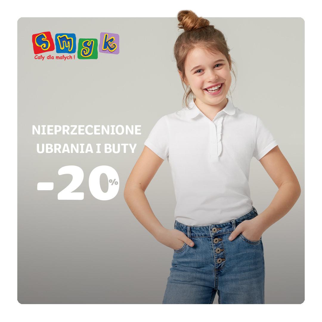 20% rabatu na nieprzecenione ubrania i buty w SMYK!