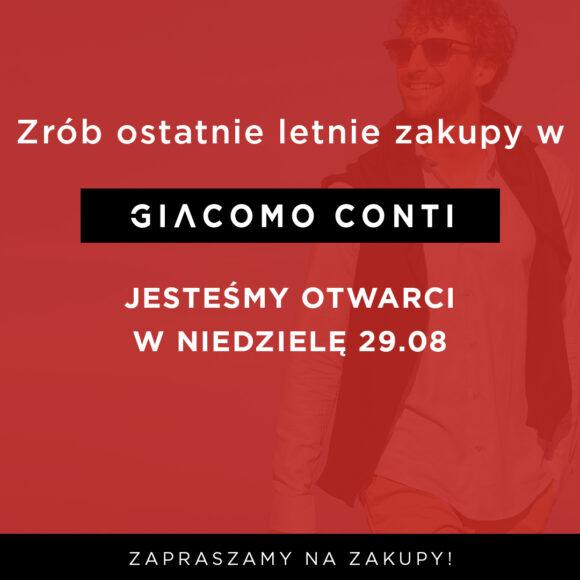 Aktualności GIACOMO CONTI – Niedziela Handlowa 29.08